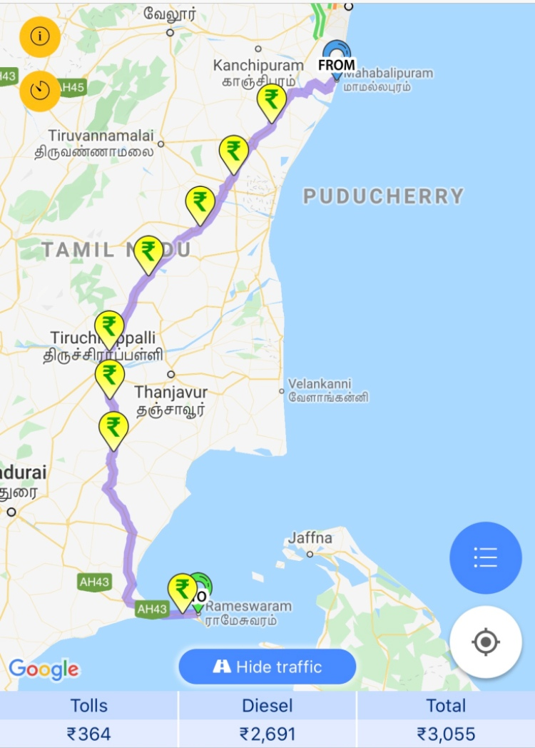 Mahabalipuram to Rameswaram Fuel and Toll details