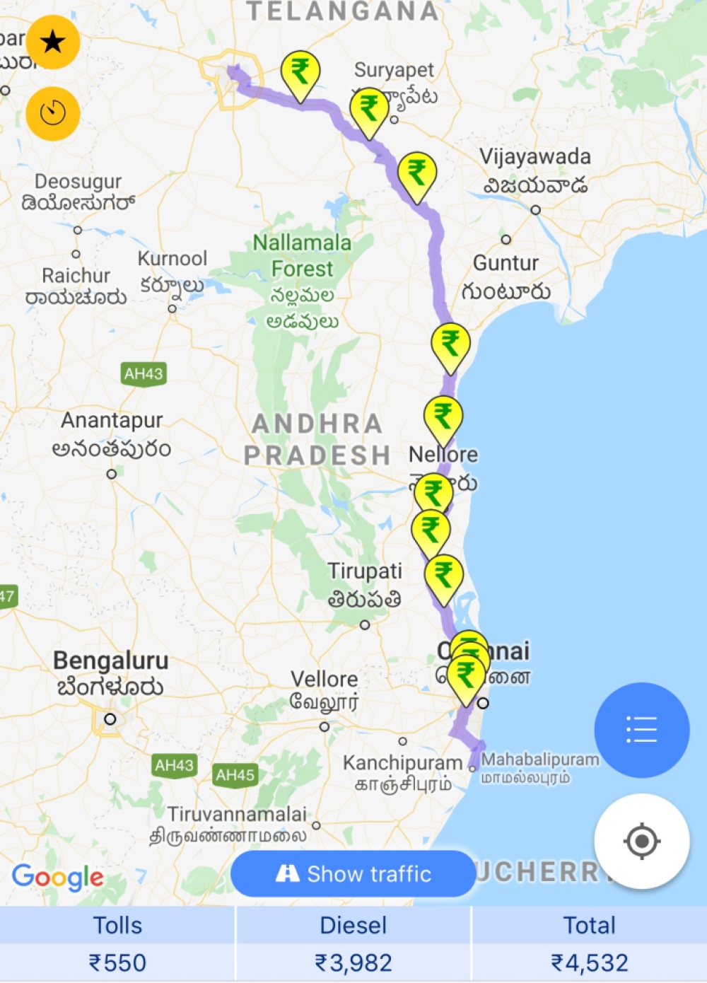 Hyderabad to Mahabalipuram Fuel and Toll details